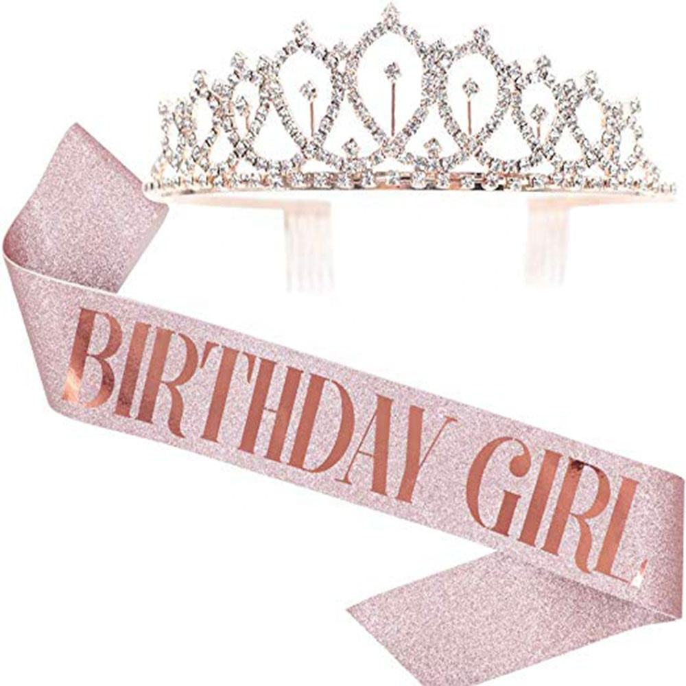 Custom Birthday Party Favors Rose Gold Birthday Gifts Glitter Birthday Girl Sash and Tiara