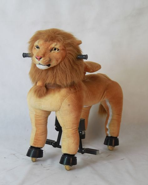 Rental Business Plush Material Lion Featured Kids and Adult Mechanical Ride On Toy Animal Ride Pony Horse Cycle