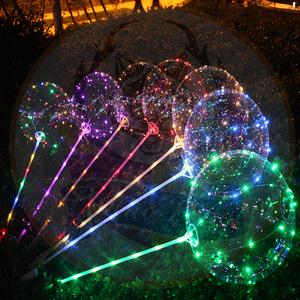 Wholesale 50 pcs/opp bag 18 Inch Transparent Flashing Glowing in the Dark Led Bobo Ballons