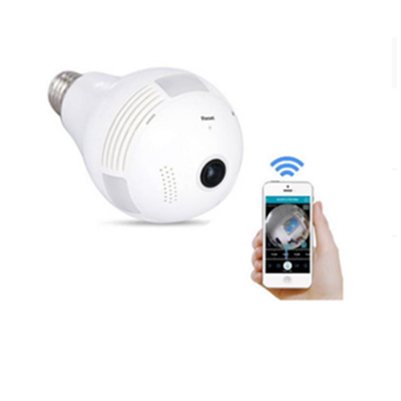 Fisheye 2.0 Megapixel bulb cctv camera WiFi 360 Degree surveillance security light bulb camera with SD Card Speaker