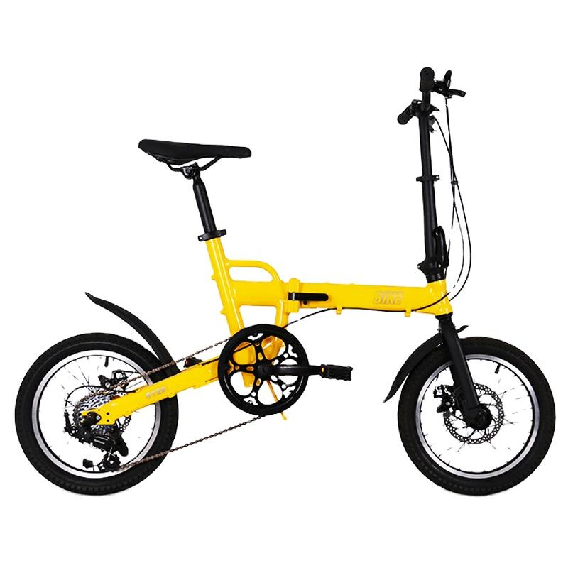 2020 adult chrome molybdenum steel frame 16 inch 8 speed folding 2 times bike 2 wheels mini ultra light gold folding bike