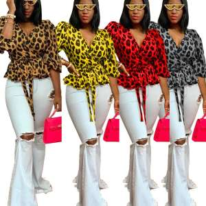 Frauen Leopard print Tops Sexy Tiefe V Cute Animal Print Club Trendy Crop Top Stilvolle Billigen Westlichen Tragen Tops für frauen RS00059