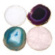 8 - 10cm Natural Gemstone Crystal Round Hexagon Square Shape Coaster Home Decoration Rose Quartz Agate Stone Cup Mat