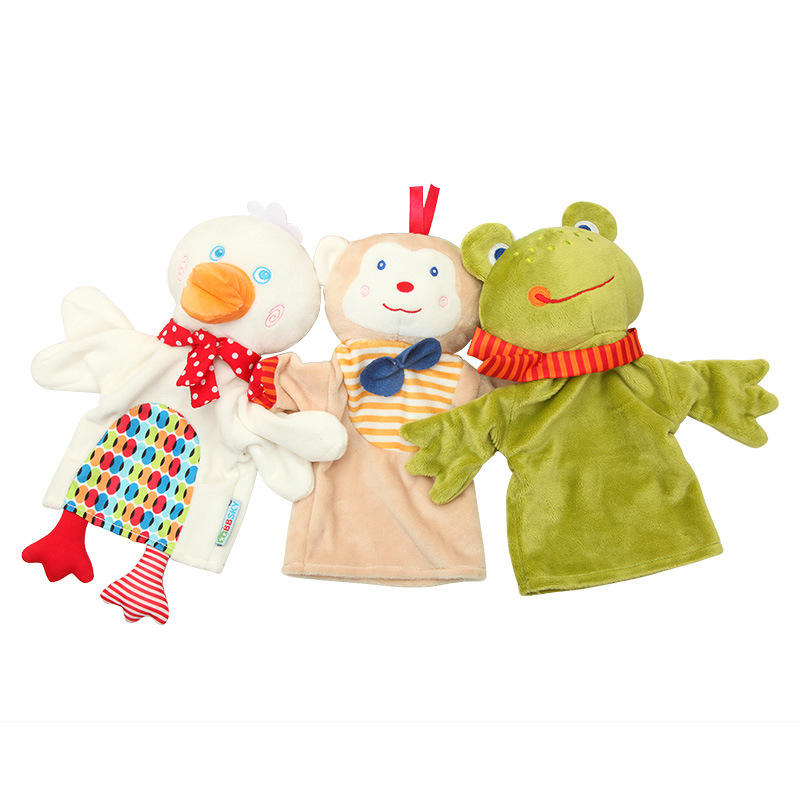 Cute cartoon animal hand puppet plush toy doll monkey frog duck appease towel