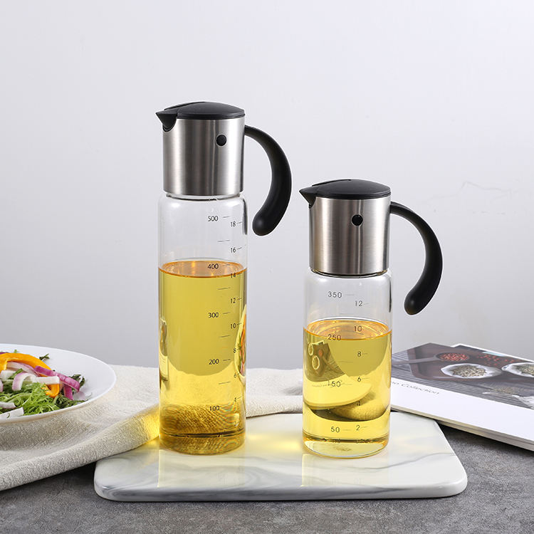 LFGB Stainless Steel 17 Oz 500ml Glass Creative Cooking Olive Oil Dispenser Control Pouring Bottle With Measurement Set