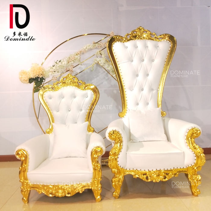 Cheap hot-sale white leather wooden frame kid king throne chairs for wedding event