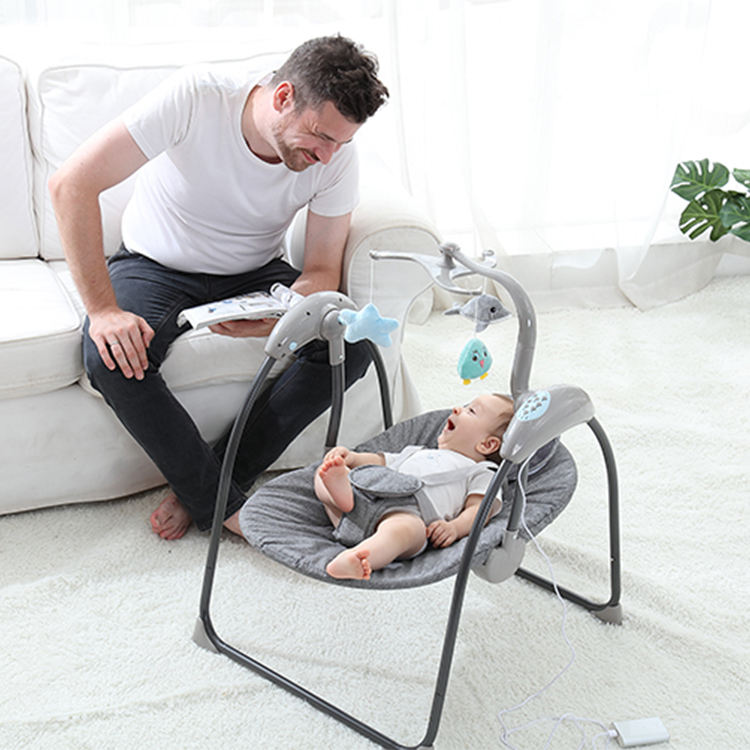 Folding Easy Carry Modern Baby Crib Newborn Baby Bed Swing Cradle for Babies with Electronic Music