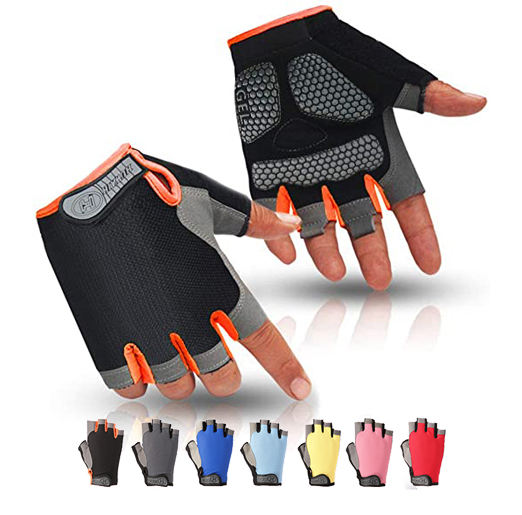 Fashion Unisex Mountain Bike Half Finger Biking Cycling Fitness Anti Slip Shock Absorbing Gel Pad Breathable Cycle Racing Gloves