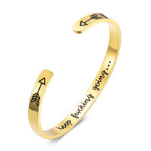 Yiwu Simple Design Stainless Steel Custom words Cuff Bracelet Wristband