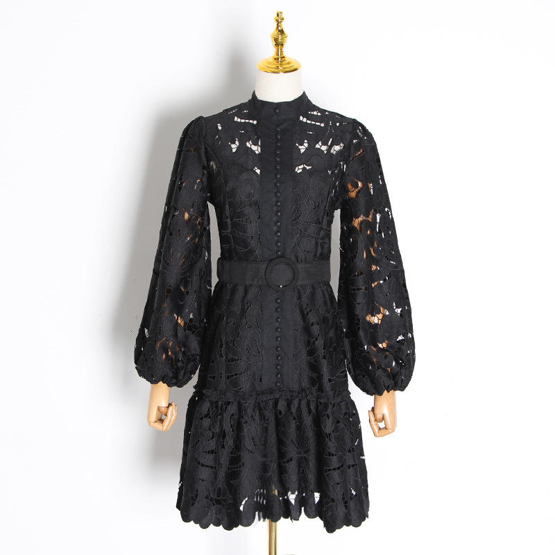 2020 New Spring Style women dress black casual dress palace style hollow out lace dress