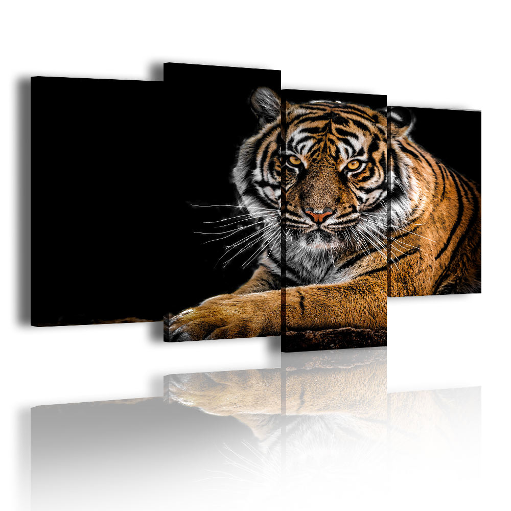 Gold And Fierce Tiger Animal Picture 4 Panel Cuadros Decorativos For Zoo