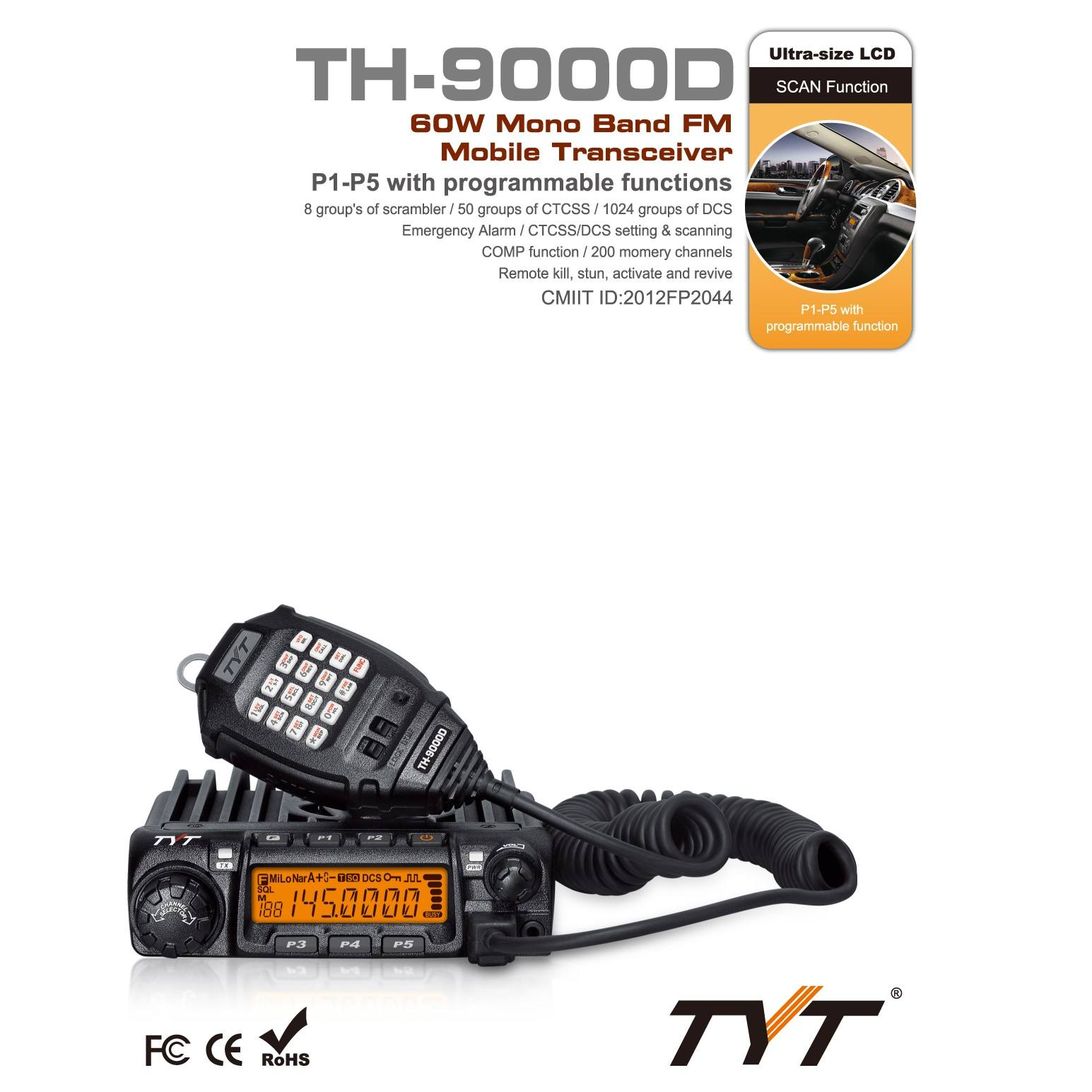 professional 2 way radio transceiver TYT TH-9000D UHF VHF radio intercom base radio 66-88MHZ