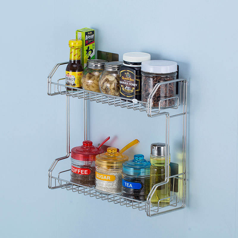 2-Tier Spice Racks Spice Rack Organizer Countertop Storage Kitchen Shelf Holder for Jars Bottle
