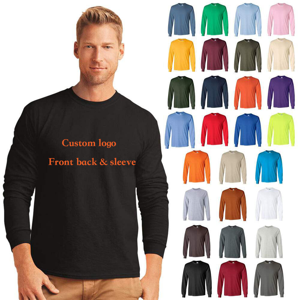 Cotton Polyester Mens Long sleeve t shirt custom, full sleeve t shirt for men