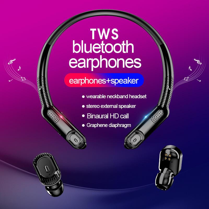 Amazon Best-Seller Bluetooth Haut-Parleur Sans Fil Jouer Portable avec Lumière conception de Bande D'encolure écouteurs TWS