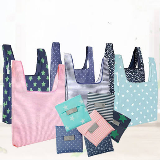 Custom Logo Eco Friendly Poly Bag Reusable Nylon Foldable Shopping Bag With Pouch Polyester