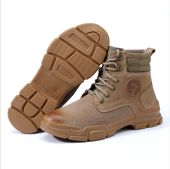 2020 fashion high top cut Protective combat militaryarmy Boots Steel Toe men custom engineering lightweight working safety shoes