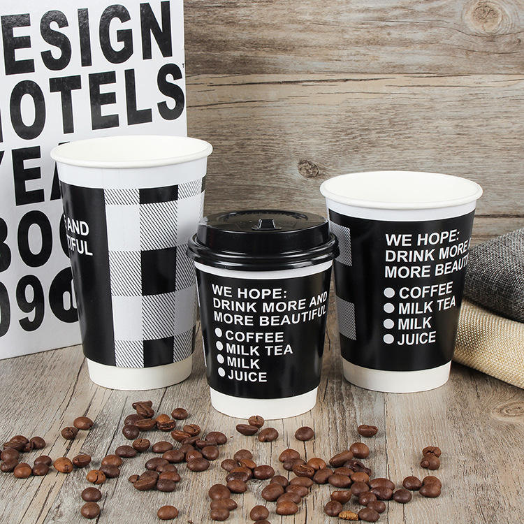 wholesale double wall disposable logo print custom paper coffee cups