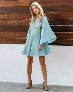 Hot kimono wrap over belted mini jurk