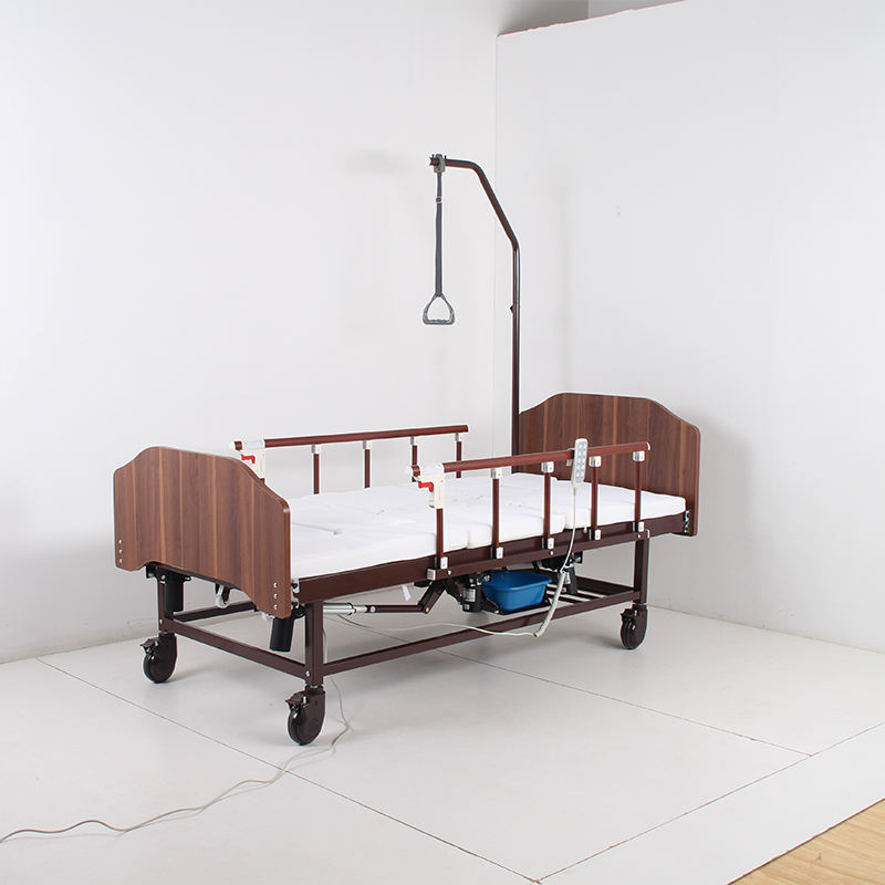 Hot Sell Cheap Four Functions Electric Hospital Bed with Wooden Bed Head Board, Home Care Nursing Bed with Electric Toliet