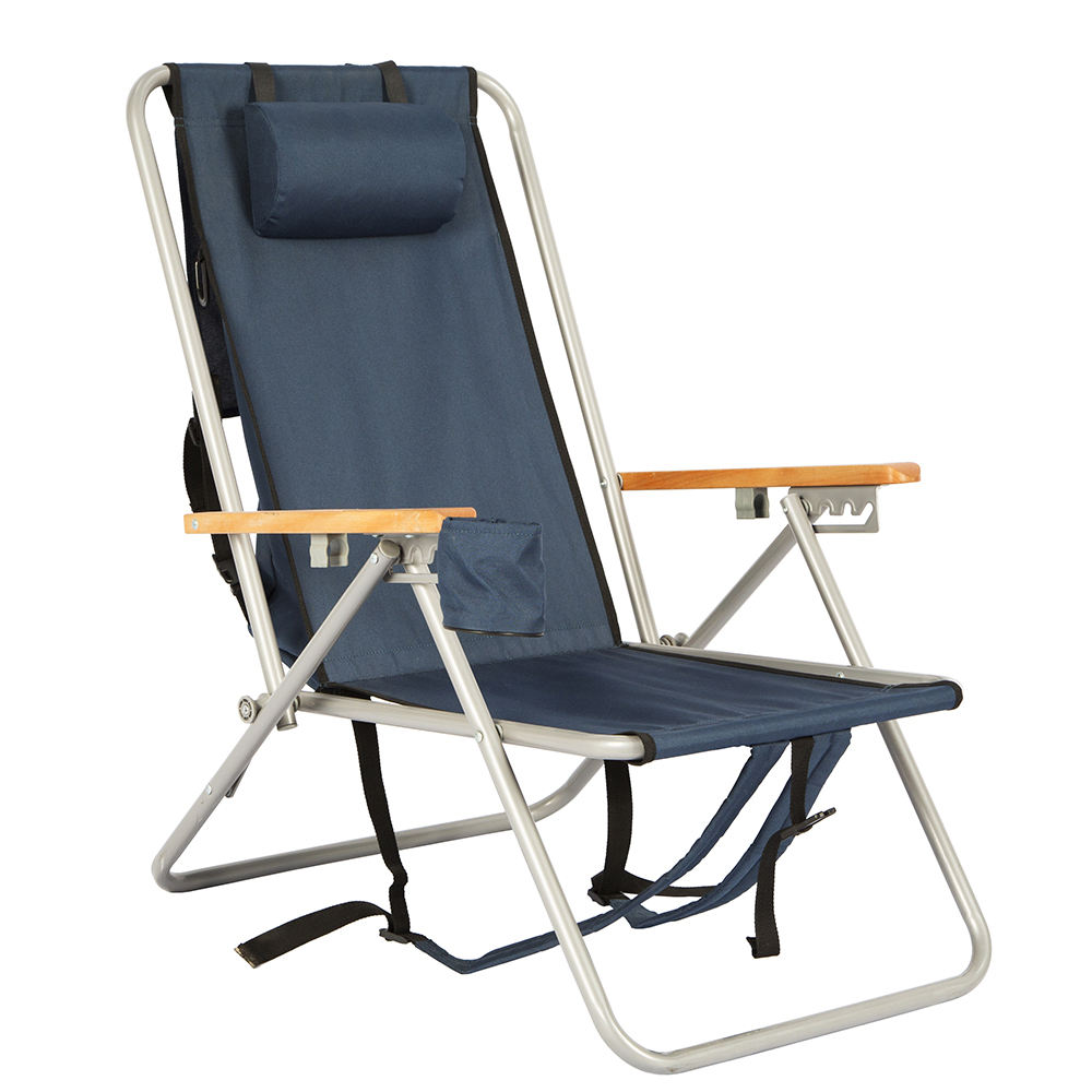 Metal backpack foldable camping beach chair with storage bag
