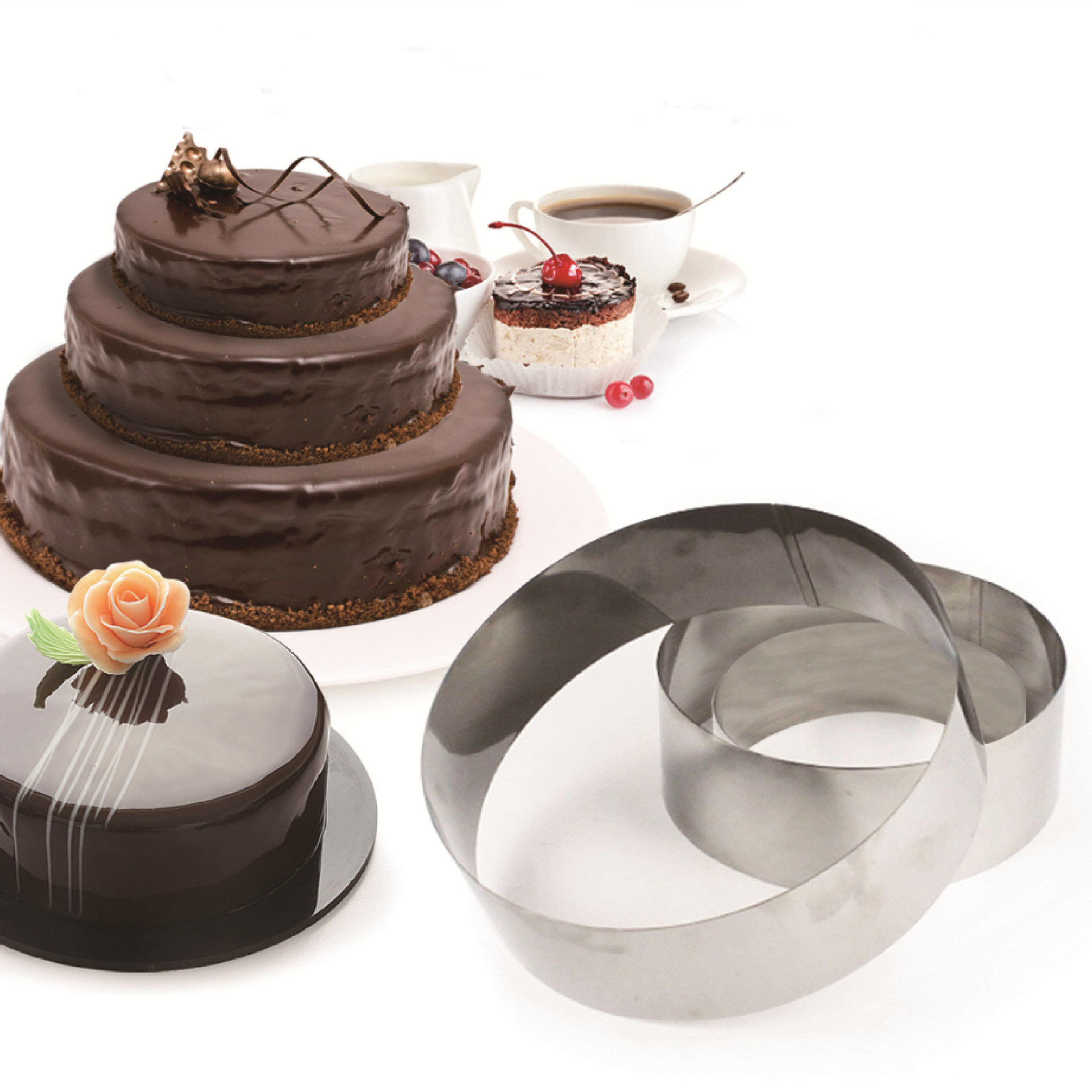 Zogifts Multi-Shapes Baking Tool Mousse Cake Mold Perforated Tart Ring