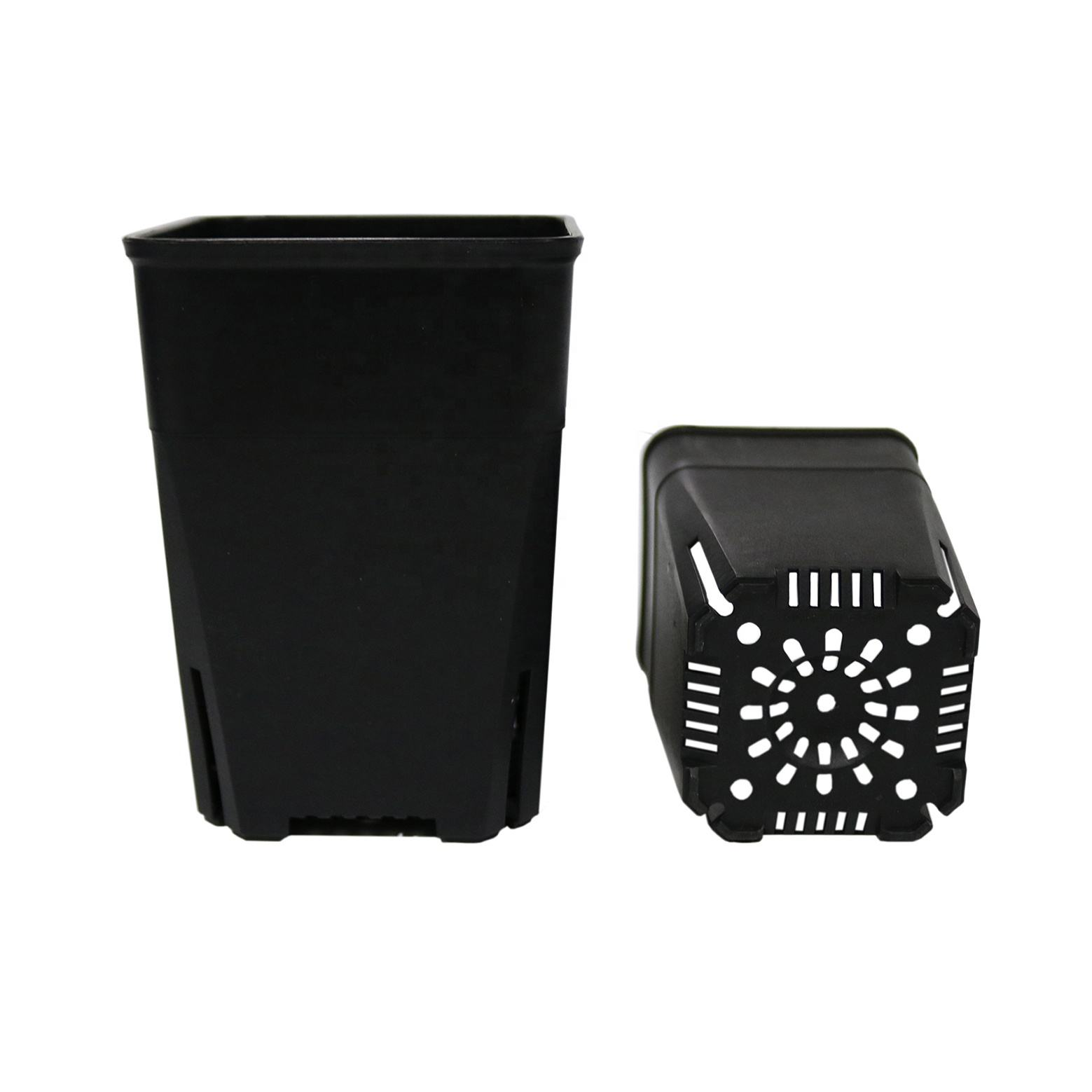 Grow Pots with Drainage Holes, Mini Black Plastic Square Pot, Small size Flower pot for Indoor Gardening