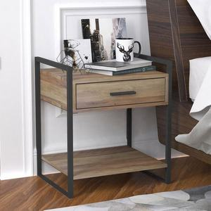 Home furniture bedroom small metal frame modern wood bedside table nightstand night stand for bedroom