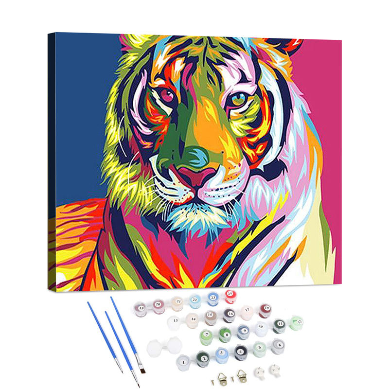 Animal colorful diy oil painting by numbers kit wall decor art diy painting by numbers