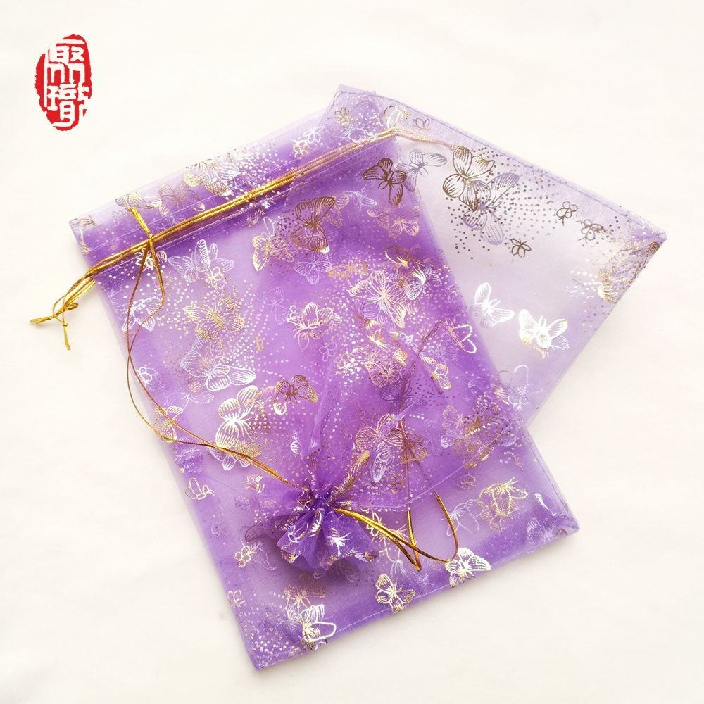 Wholesale printed silk drawstring Organza pouch wedding party gift bag