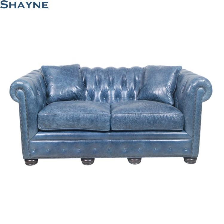 Shayne Antique de Luxe Weston Saphir Bleu En Cuir Clous Tufté Salons Canapés Ensembles De Salon De Meubles Ensemble de Canapé 2 Places