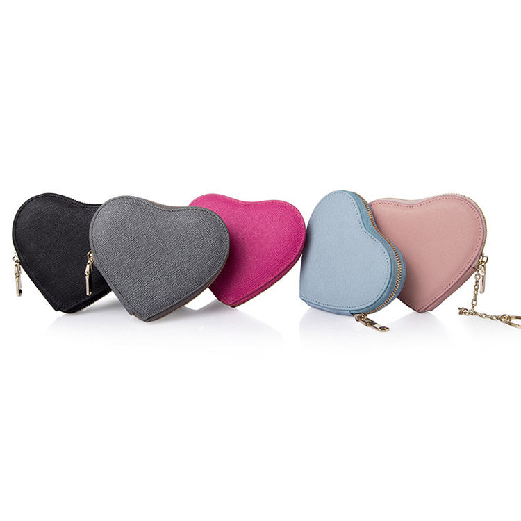 Cute Heart Shape Saffiano Leather Coin Wallet Women Key Chain Coin Purse pouch
