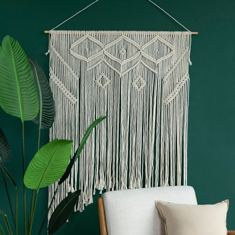 2019 Handicraft home accessories macrame cord art hotel bar used large cotton macrame rope wall hanging accessories