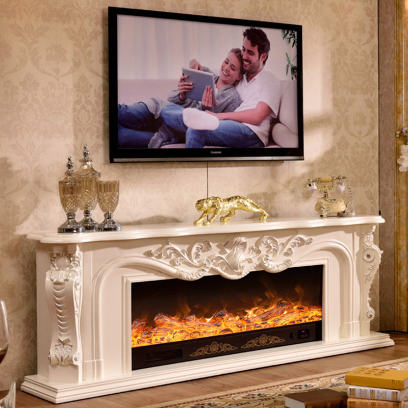 2m solid wood decorative cabinet background wall hearth simulation fire heating fireplace core wood electric fireplaces