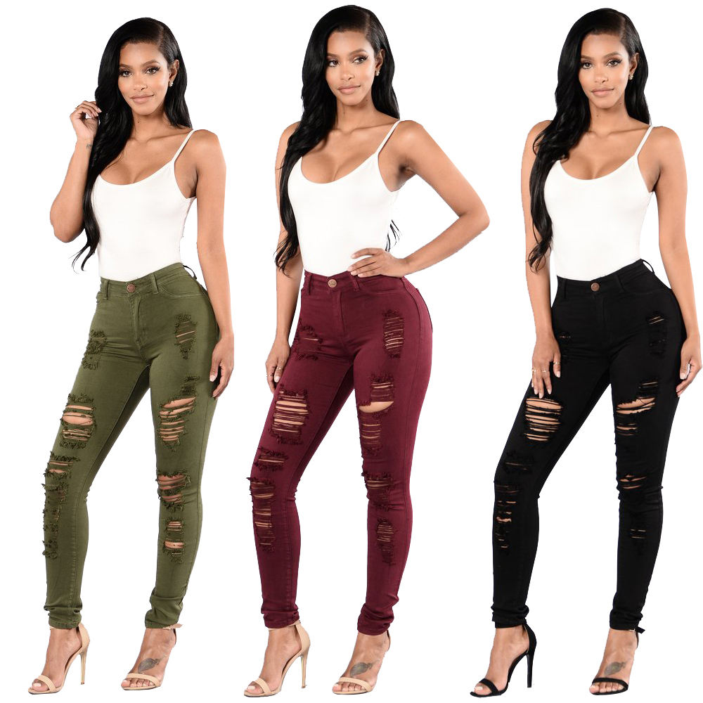 Black Green Red Tight Jeans Butts Women Slim Fit Ripped Jeans