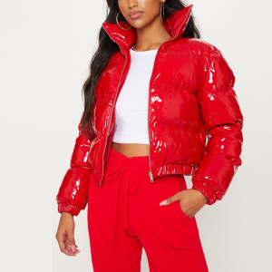 2020 Winter New Arrival Vinyl Cropped Puffer Jacket Women Sexy Down Jacket in Red
