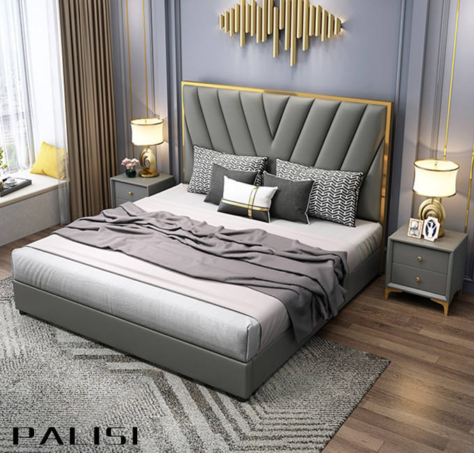 Luxury Simple Italian Design Leather/Fabric Bed High Head board wood bed frame Bed Furniture Set