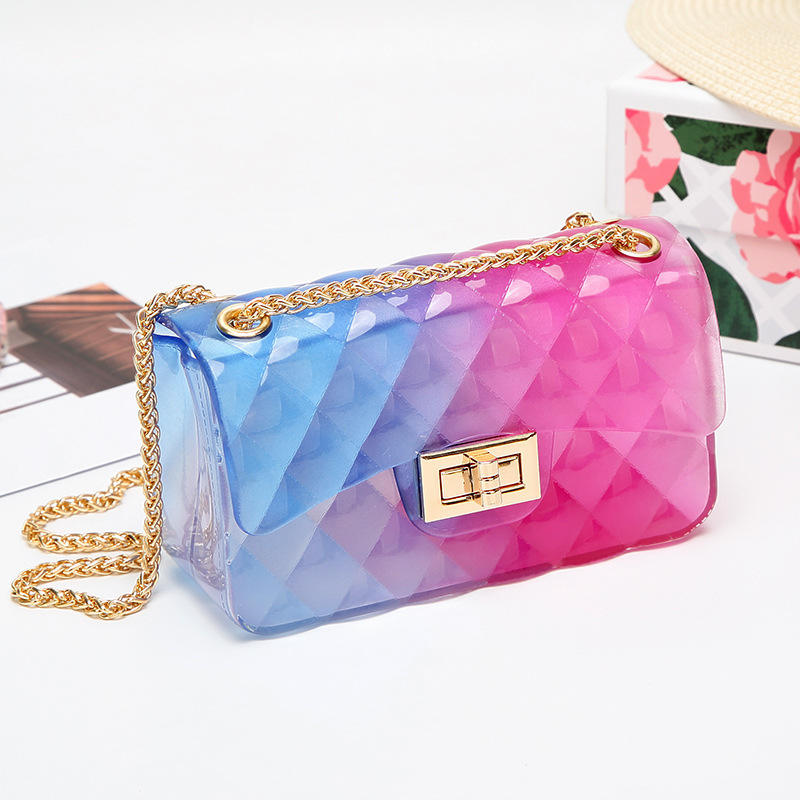 TS9012 2020 New fashion ladies pvc colorful jelly bag for women cheap clear designer purses transparent jelly bag cute handbags