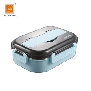Amazon Rectangle Metal SS304 Lunch Box with 4 Compartments Food Grade Tiffin Box with Lock