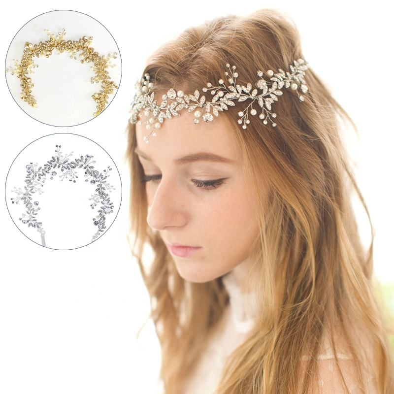 2020 Latest Design Crystal Pearl Head Wedding Hair Accessories Bridal Flowers Hair band
