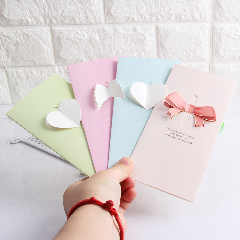 Hand Made Paper Folding Birthday Greeting Cards Wedding invitation Design with heart