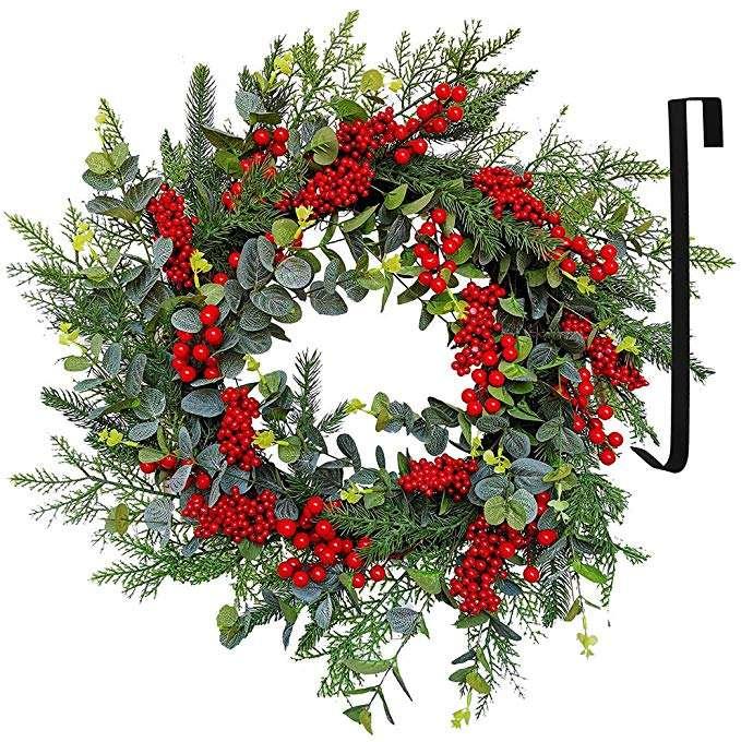 Cedro corona con bayas rojas Spruce eucalipto hojas, ramitas <span class=keywords><strong>de</strong></span> vid para <span class=keywords><strong>Navidad</strong></span> <span class=keywords><strong>de</strong></span> interior y al aire libre