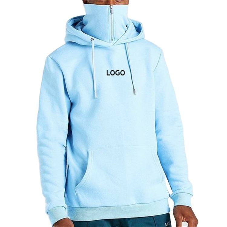 Custom print logo kangaroo pocket zip snood running hoodie for men