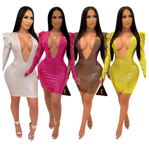 Y1131 Hot Koop Diepe V Petal Mouwen Sequin Party Club Dames Mode Casual Bodycon Jurken Vrouwen