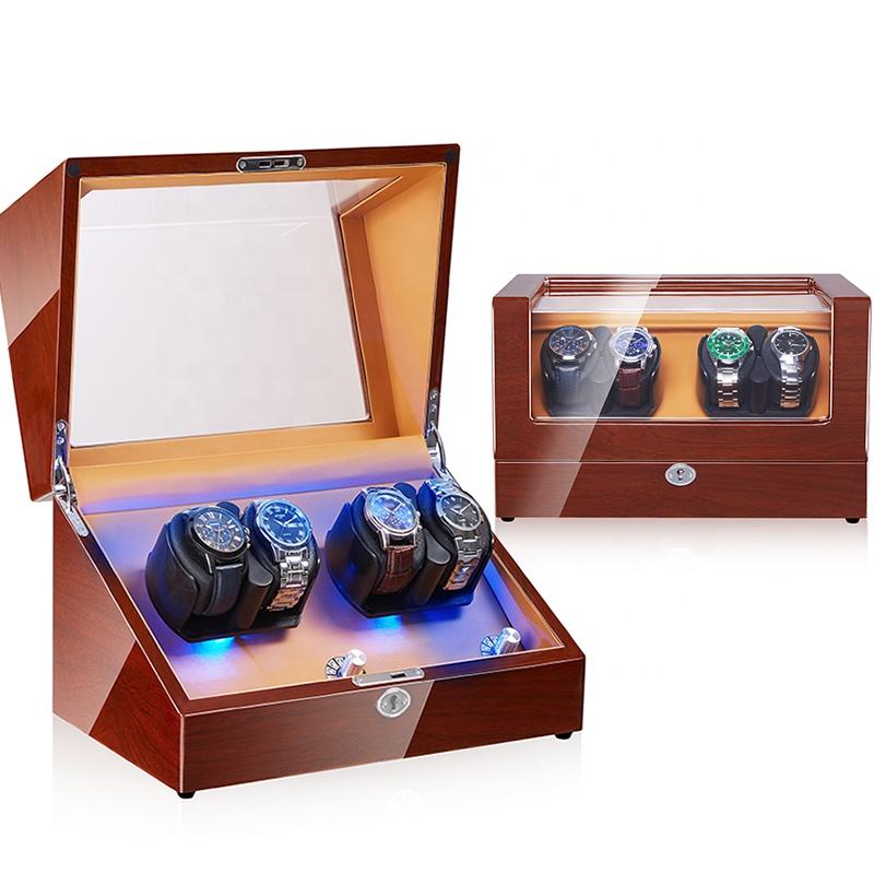 EETMAY Premium Spinning wooden watch case 4 Watch winder Box automatic with LED lighting 5 Modes Silent Rotation