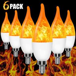 E12 LED Flame Effect Candelabra Light Bulbs 3 Mode Flickering Wall Lamp Chandelier Flame Effect Bulb for Christmas Party