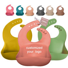 Customized Printed Logo Multi Colored Soft Silicone Easy to Clean Waterproof Baby Bibs with Crumb Catcher