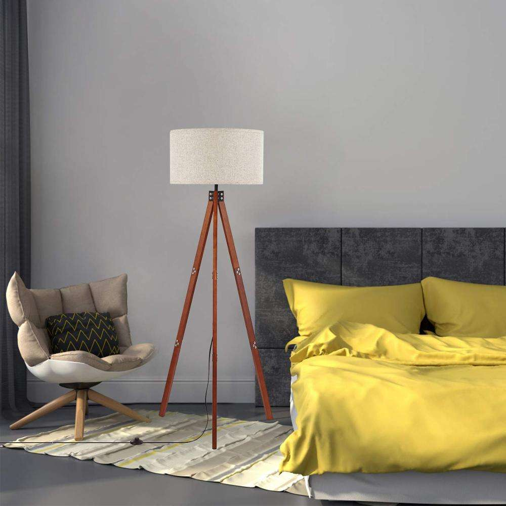 Popular Wood Tripod Floor Lamp for Contemporary Living Rooms