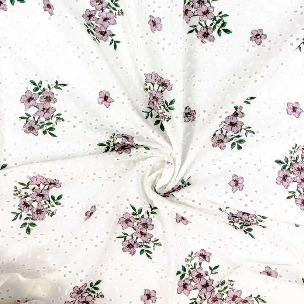 Latest design floral printed knitted embroidery on 100% cotton eyelet lace fabric for garment