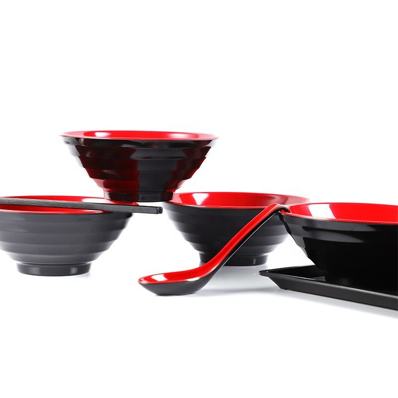 High Quality Classic Design Red And Black Color Ramen Noodle Durable Bowl